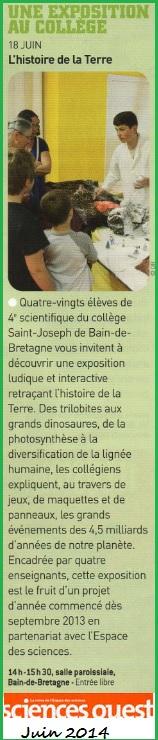 exposition science Ouest Collège Bain-de-Bretagne
