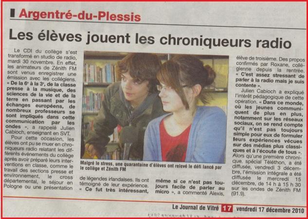 journal de vitré zénith fm collège La Salle Saint Joseph Argentré du Plessis