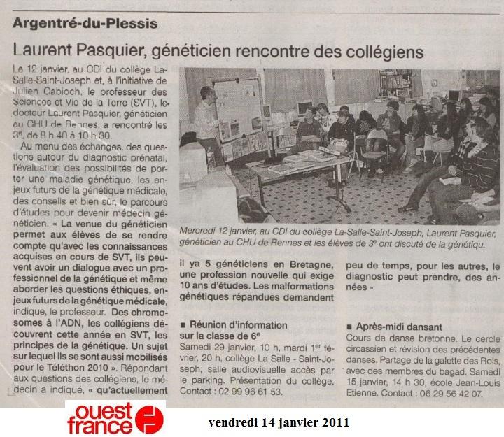 ouest france généticien vivelessvt 2011