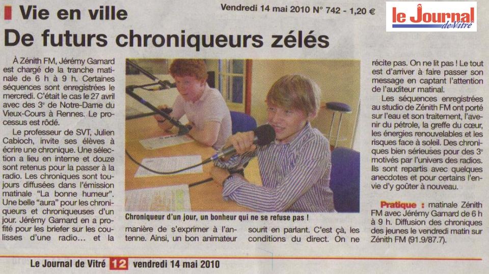 zenith FM article journal de vitré