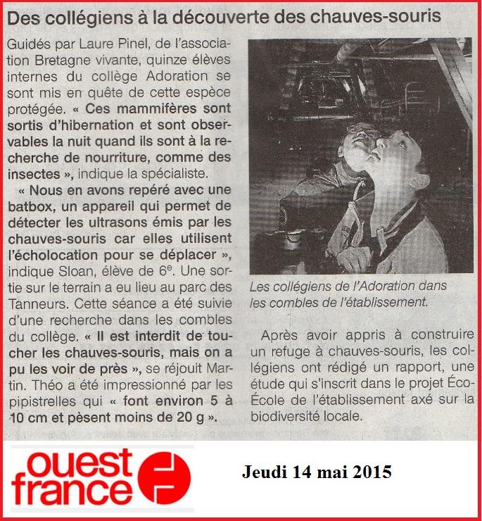 Article Ouest France chauves souris collège SVT