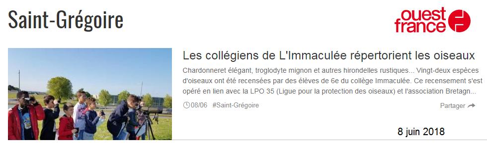 Collège Saint Grégoire LPO projet biodiversité Bretagne Vivante