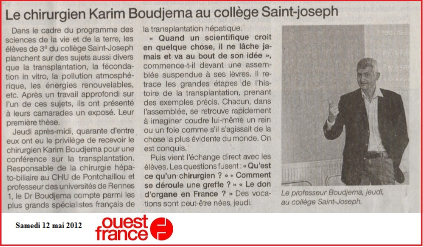 Karim Boudjema au collège Saint joseph - Bain de Bretagne
