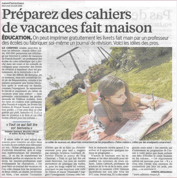 Le parisien aujourd'hui en France Julien Cabioch devoirs de vacances