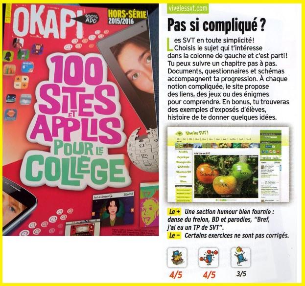 Okapi hors série sites internet SVT applis vivelesSVT