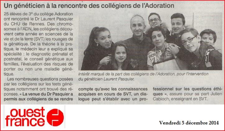 Un généticien au collège Adoration Rennes SVT