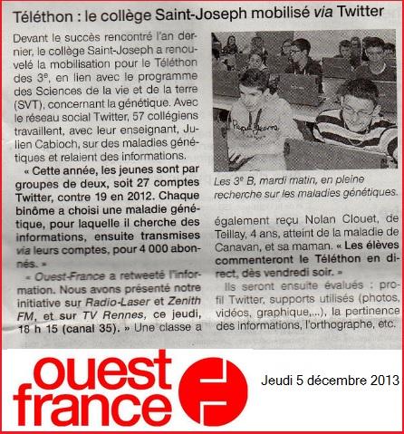 article Ouest France 2013 Téléthon