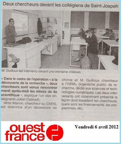 article Ouest France chercheur 4eme 2012