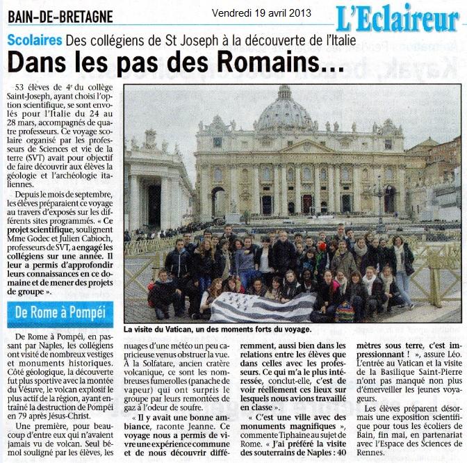 article italie l'éclaireur 2013