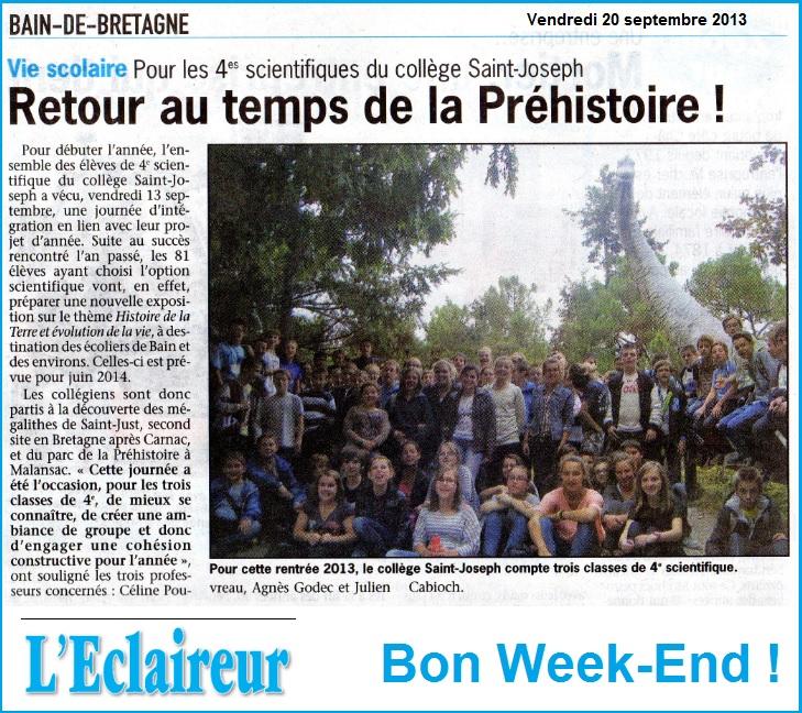 article journée d'intégration 4ème scientifique Bain de Bretagne