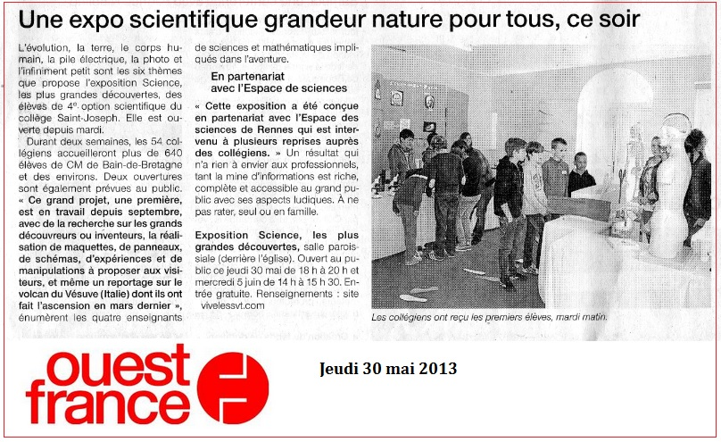 article ouest France exposition Scientifique SVT