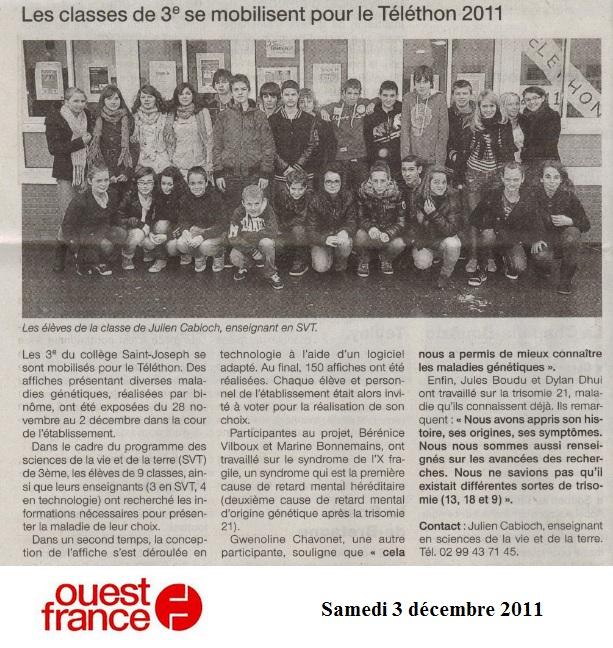 article ouest france Téléthon 2011