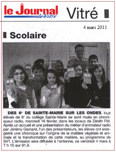 journal de vitré zénith FM 6ème