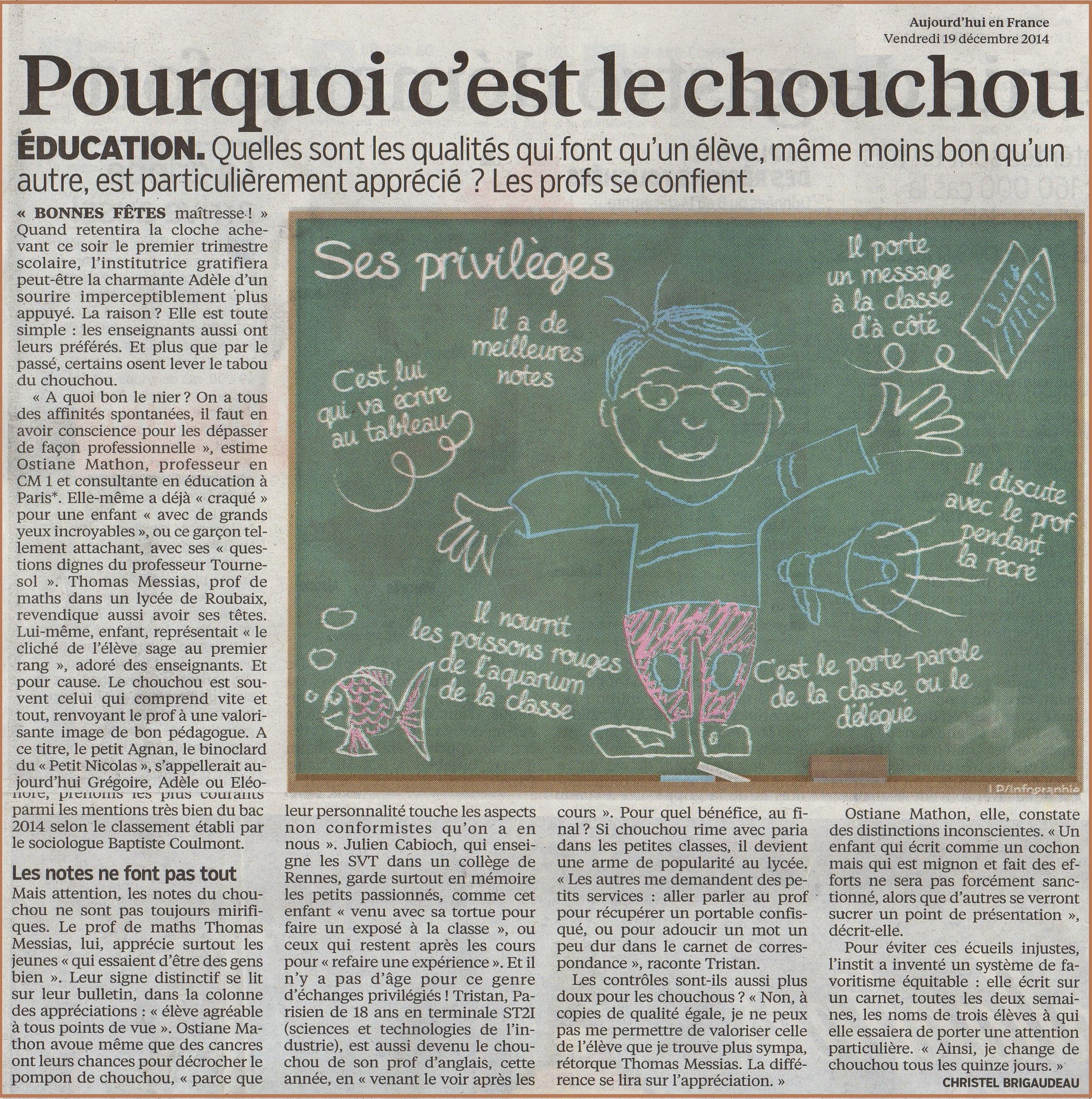 pourquoi c'est le choucou article aujourd'hui en France le parisien vive les svt
