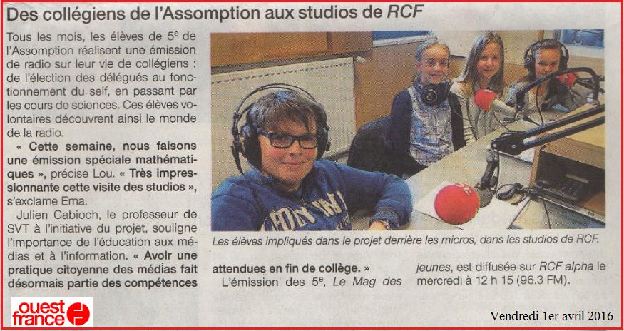 radio RCF collège lycée Assomption Rennes