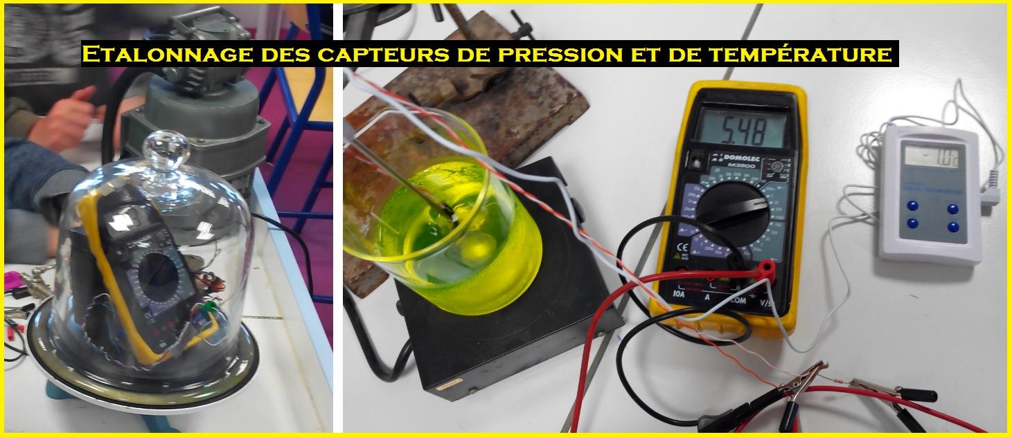 étalonnage des capteurs de pression et de températures Ballon Sonde SVT