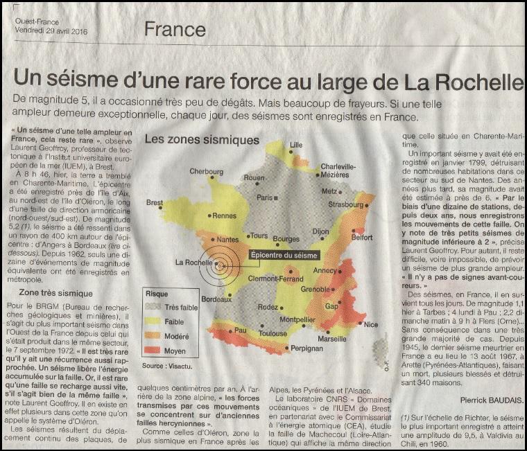 séisme la Rochelle France avril 2016