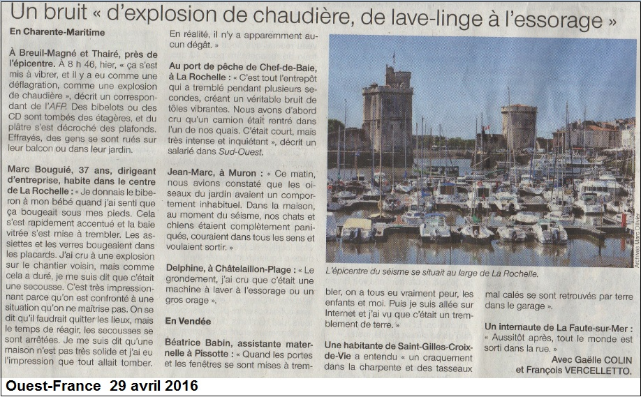 témoignage séisme La Rochelle Avril 2016