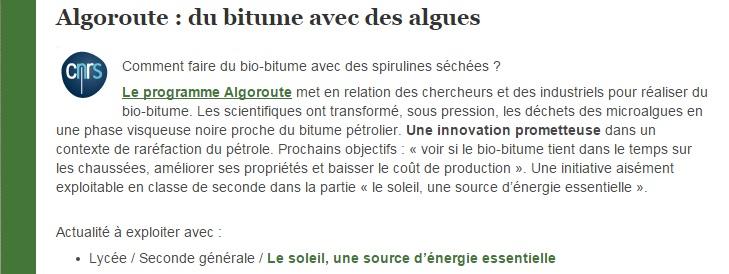 algoroute  du bitume avec des algues eduscol SVT