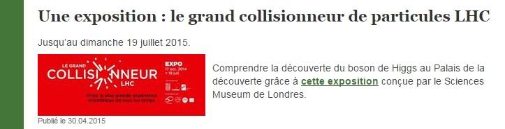 grand collisionneur de particules LHC SVT article Eduscol