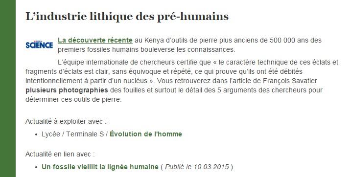 industrie lithique des pré humains SVT eduscol Cabioch Julien