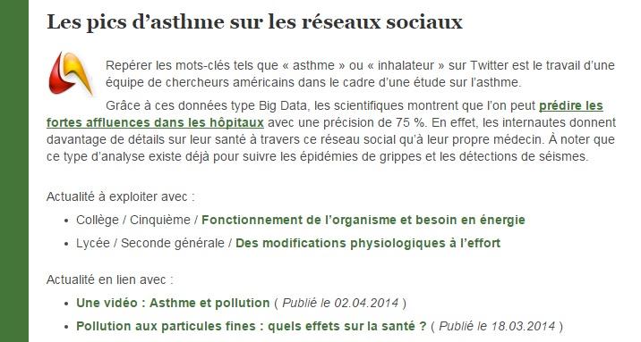 réseaux sociaux asthme svt eduscol