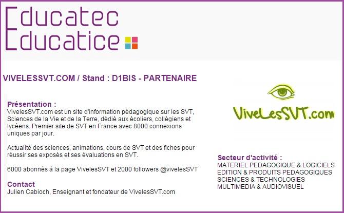 salon educatec educatice  Paris porte de Versailles vivelessvt SVT