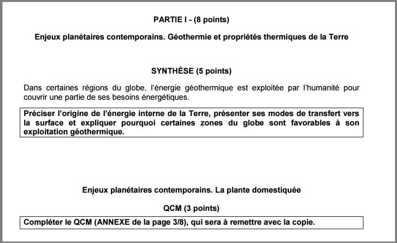 sujet bac SVT série S terminale S 2015 partie 1 QCM