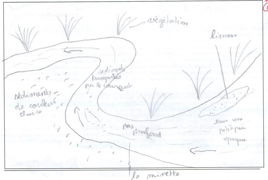 croquis d'un élève transport des sédiments sortie terrain