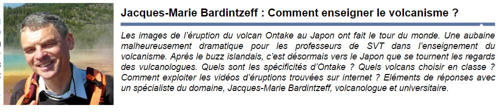 comment enseigner le volcanisme Jacques Maris Bardintzeff Julien Cabioch SVT