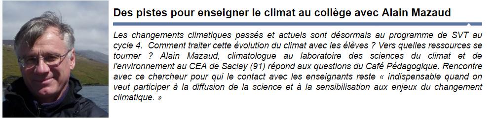 enseigner le climat au collège Alain Mazaud CEA Julien Cabioch SVT