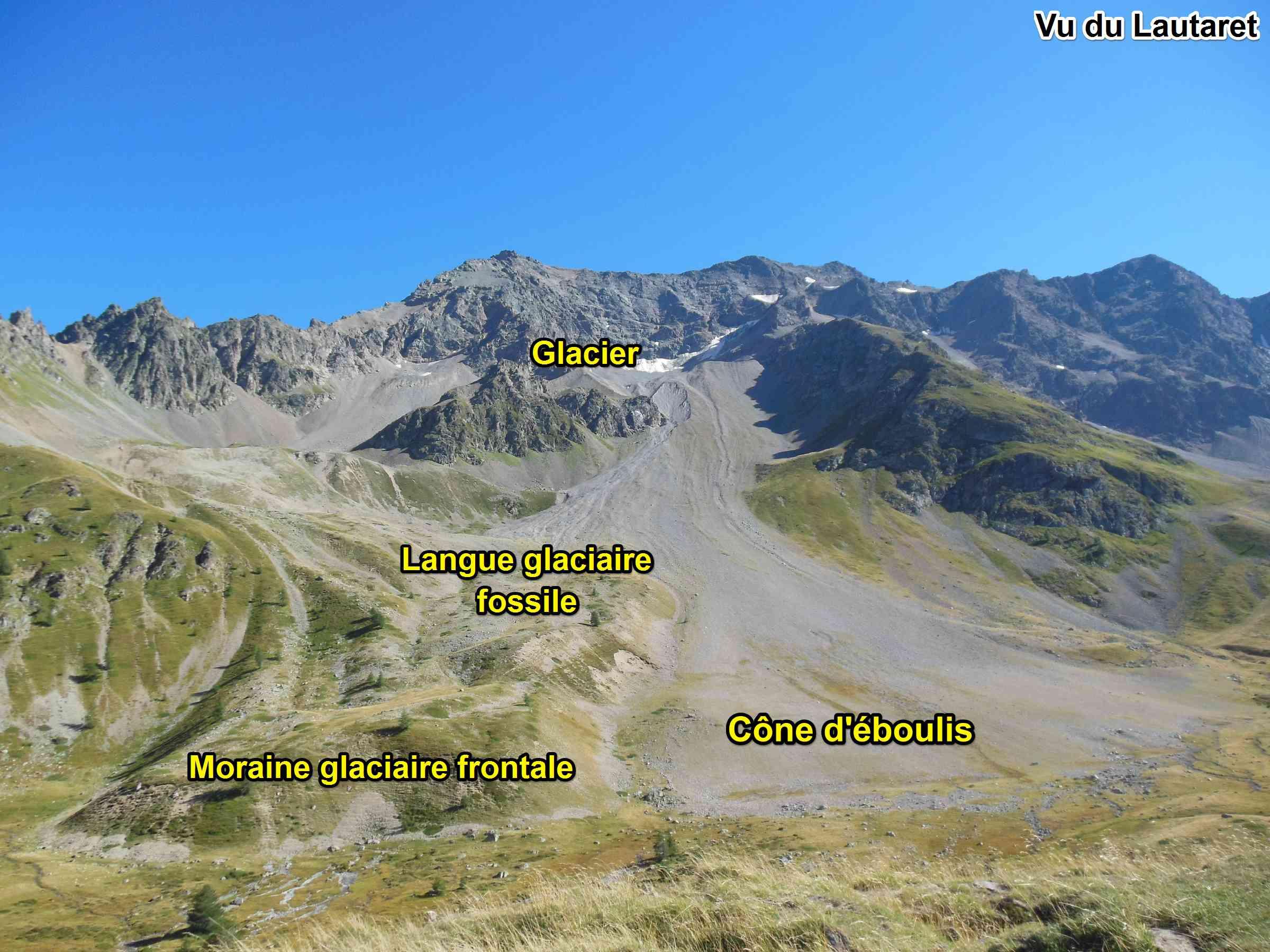 glacier moraine langue col Lautaret Alpes géologie