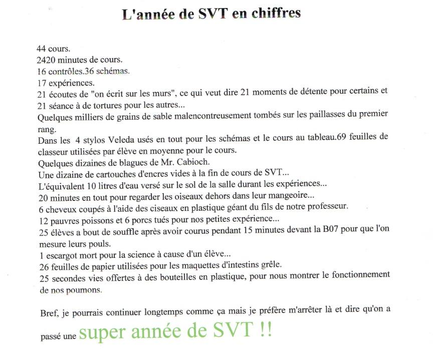 un an de SVT collège Assomption Rennes classe de 5ème (2)