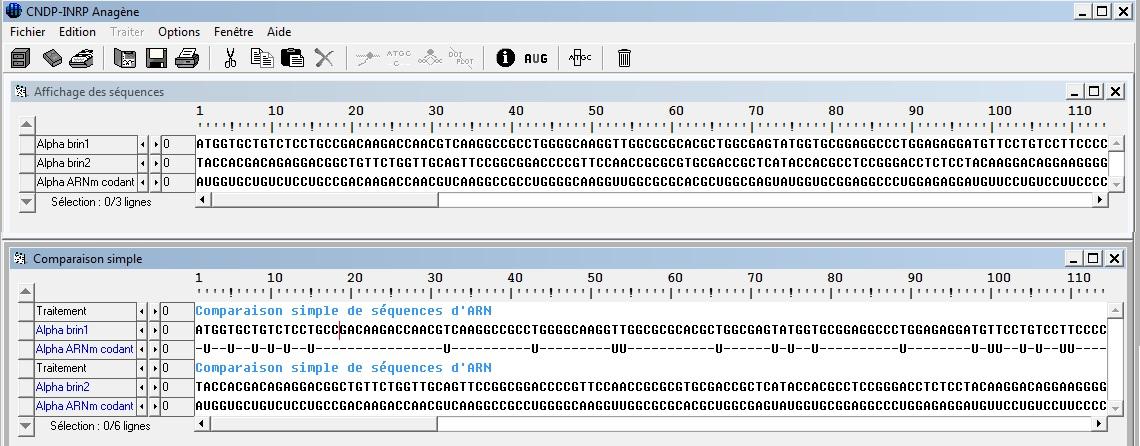 comparaison ADN ARN anagène SVT