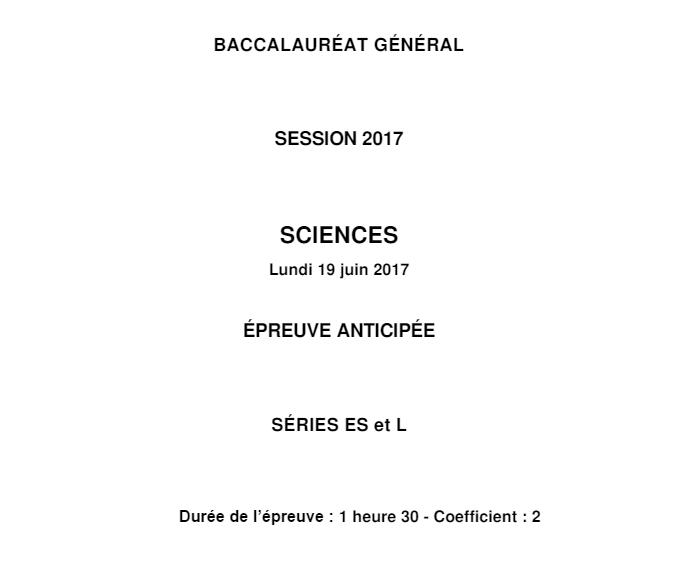 Bac Sciences 2017 : sujet de métropole