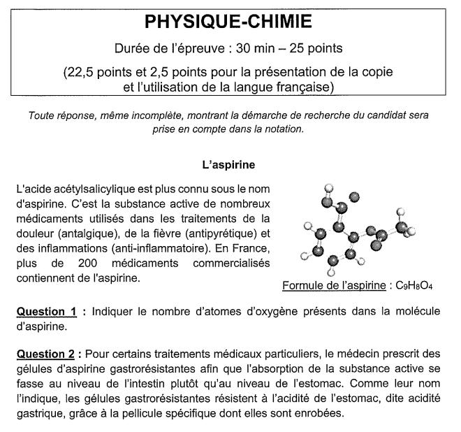 sujet SVt physique chimie Brevet1