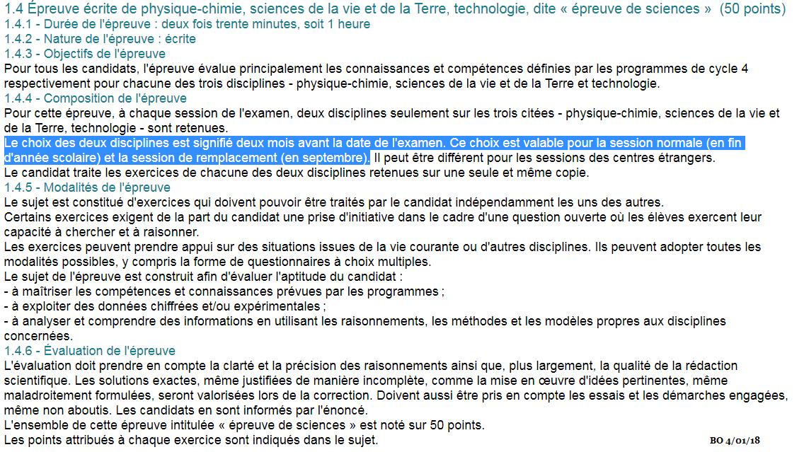 BO bulletin officiel Brevet des collèges SVT sciences
