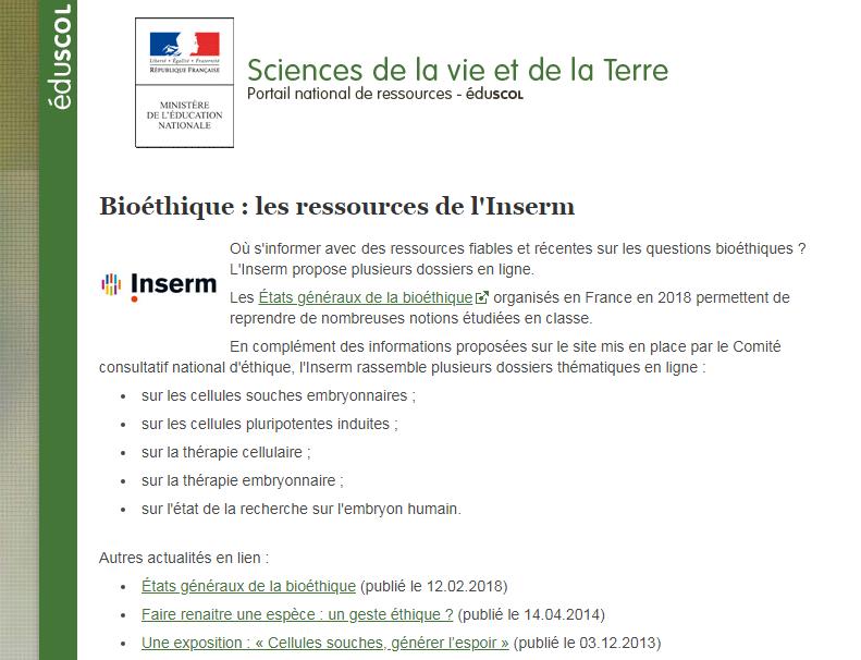SVT débat national ressources INSERM Bioéthique