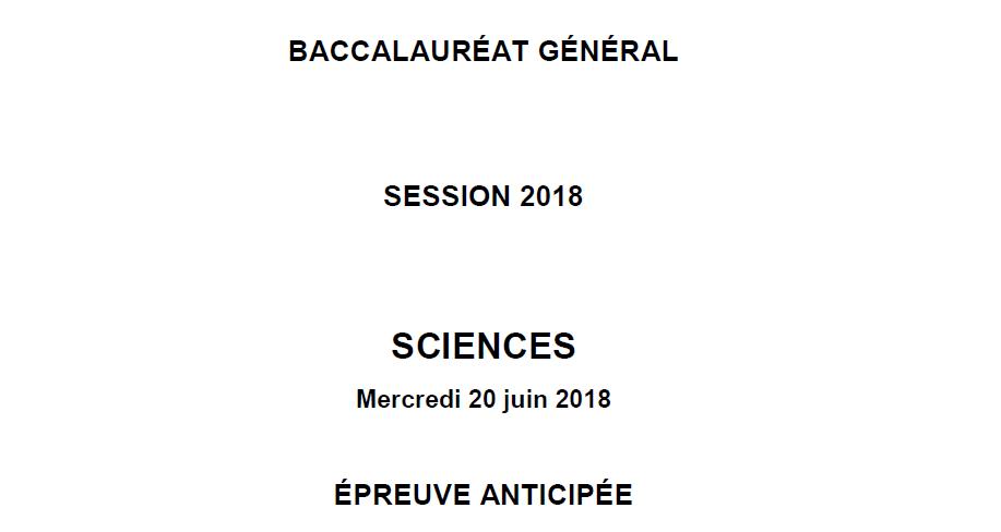 Sujet du Bac Sciences 2018 métropole