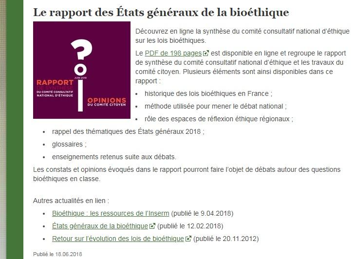 rapport des états généraux de la bioéthique SVT
