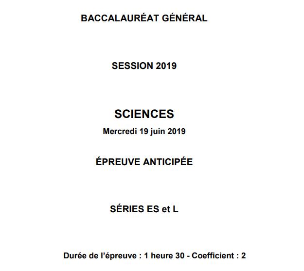 Epreuves anticipées Sciences 2019 – Métropole