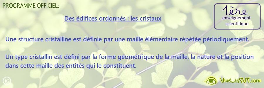 Des édifices ordonnés : les cristaux – Enseignement scientifique