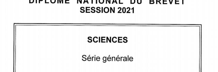 Sujet DNB SVT – métropole 2021