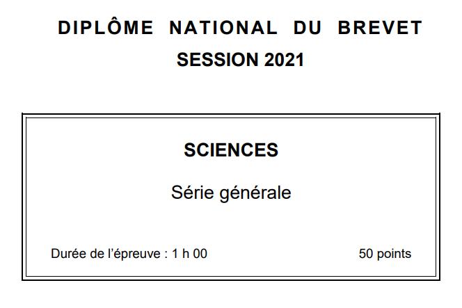 DNB : le sujet sciences en Amérique du nord
